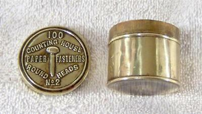 Vintage Counting House No2 Paper Fasteners Round Heads Tin