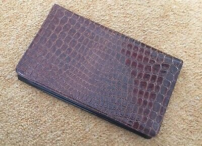 Vintage 1970s Mock Croc Brown Faux Leather Bi-Fold Wallet from Rapid Metal