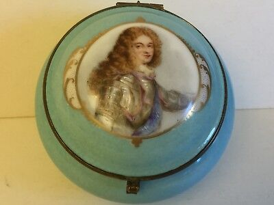 Antique Limoges France Porcelain Portrait Handpainted Box circa 1900