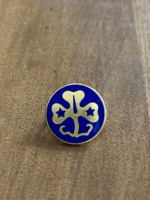 Vintage Girl Scout Pin Blue Clover Star Pin