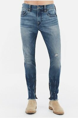 True Religion Mens $229 Jeans Finn Slim Tapered Frayed Ankle Zip Envy MDABL446A