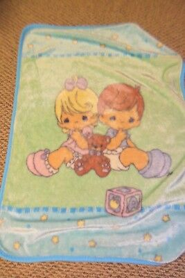 "PRECIOUS MOMENTS BABY BLANKET LUX LUXE PLUSH THROW 44"" X 31"" boy girl bear"