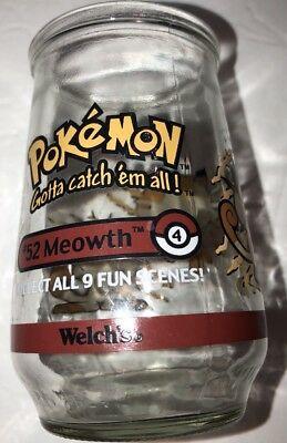 Pokémon. #52 Meowth Welchs Jelly Glass jar 1999. No Lid
