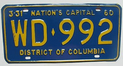 1960 District of Columbia car license plate NICE