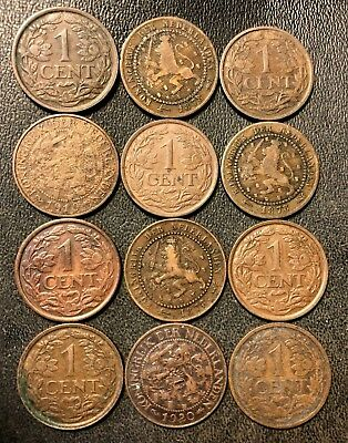 Old Netherlands Coin Lot - CENT - 1878-1941 - 12 Excellent Coins - Lot #110
