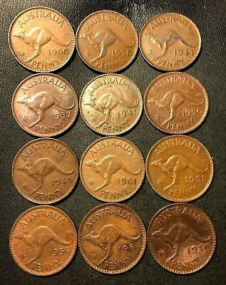 Old Australia Coin Lot - 1939-1964 - 12 LARGE PENNIES - Awesome Group - Lot #110