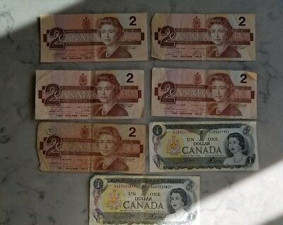 Lot of 7 1986 1973 CANADA CANADIAN ONE 1 DOLLAR TWO 2 DOLLAR BANK NOTE