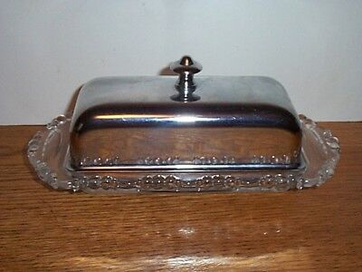 Vintage Glass And Metal Butter Dish