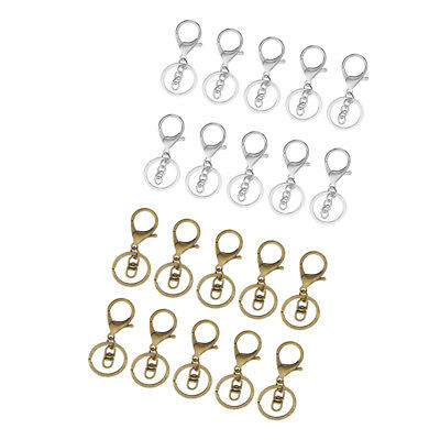 20 Sets Metal Hook Swivel Snap Lobster Clasp Clip Finding Key Chain Ring DIY