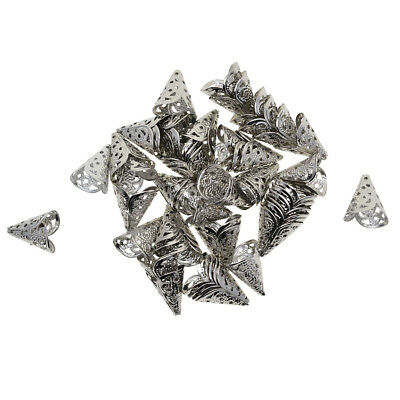 50x Filigree Cone Shape Tassel End Bead Caps Jewelry Craft Findings Silver