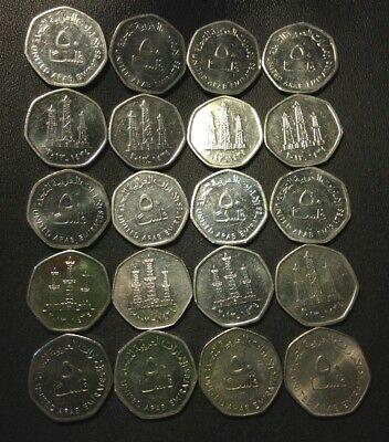 Vintage UNITED Arab Emirates Coin Lot - 50 FILS - 20 Uncommon Coins - Lot #110