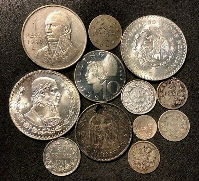 Vintage WORLD Silver Coin Lot - 1872-1966 - 12 Silver Coins - Lot #110