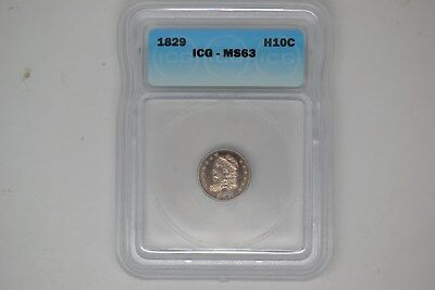 1829 Capped Bust Half Dime- ICG MS-63.  A lovely coin.