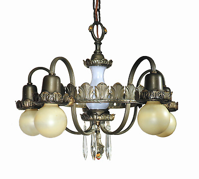 Vtg Antique 1923 Chandelier Solid Brass Prism 5 Arm French Ceiling Fixture Lamp