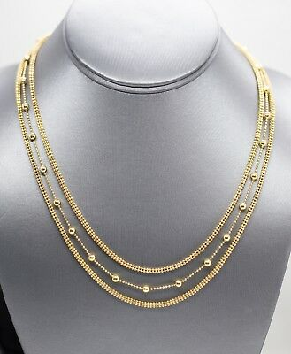 """14k Yellow Gold Plated Sterling Silver Three Row Beaded Layer Necklace 17"""""""