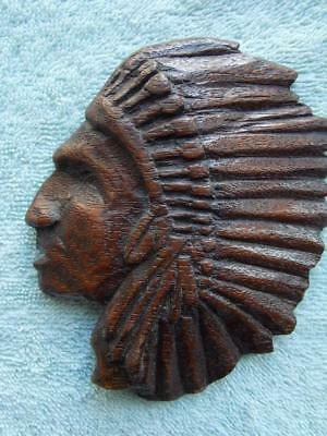 "Vintage Hand Carved Wood Native American Indian Chief Head 4 9/16"" Folk Art"