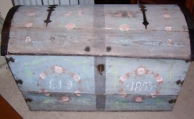 Antique 1853 Norwegian Rosemaling Trunk Folk Art