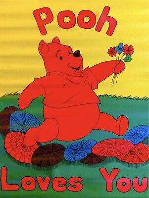 Vintage 1970s Winnie The POOH LOVES YOU Psychedelic Poster