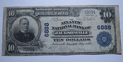 $10 1902 Jacksonville Florida FL National Currency Bank Note Bill! Ch #6888 FINE