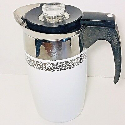 Vintage 1966 Corning Ware Platinum Filigree 6 Cup Electric Percolator Coffee Pot