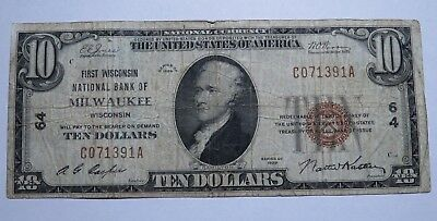 $10 1929 Milwaukee Wisconsin WI National Currency Bank Note Bill Ch. #64 Fine!