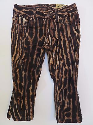 Girls designer jeans trousers leopard animal print zipped cropped RRP $39.99 NEW