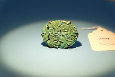 "Chinese Hand Carved Turquoise Stone ""Butterfly"" Pin."
