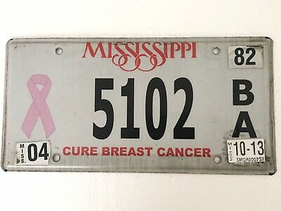 CURE BREAST CANCER Mississippi License Plate Car Tag BA Awareness