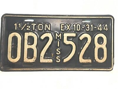 Rare 1944 Mississippi License Plate WWII DOUBLE STAMPED Truck
