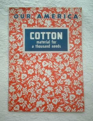 1943 COKE COCA COLA STICKER BOOK OUR AMERICA COTTON FABRIC w/ 20 COLOR STAMPS