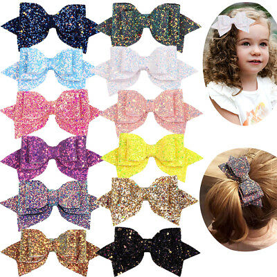 12Lot Girls 5 Inch Large Big Bling Sparkly Sequin Glitter Hair Bows with Clips