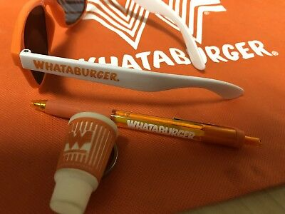 NEW Whataburger Rare New Bundle Drawstring Bag Keychain Pen And Sunglasses