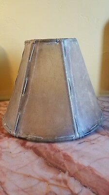 """HANDCRAFTED LEATHER RAWHIDE LACE LAMPSHADE ~ Old West~ High End~9""""w x 6""""h~New"""