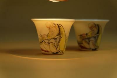 """Pair """"Eggshell Style"""" Chinese Porcelain """"Shou"""" Cups."""