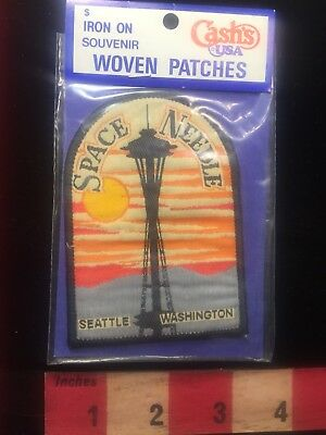 Vtg CASH'S WOVEN PATCH SEATTLE SPACE NEEDLE TOWER State Of Washington Patch S81E