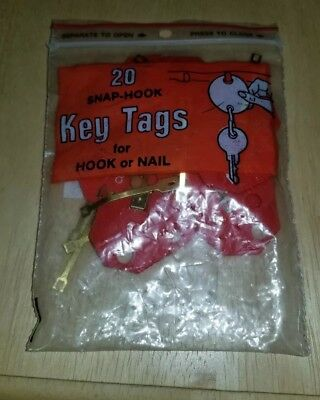 20 Snap Hook Key Tags For Hook Or Nail MMF Industries Color Coded Plastic Rare