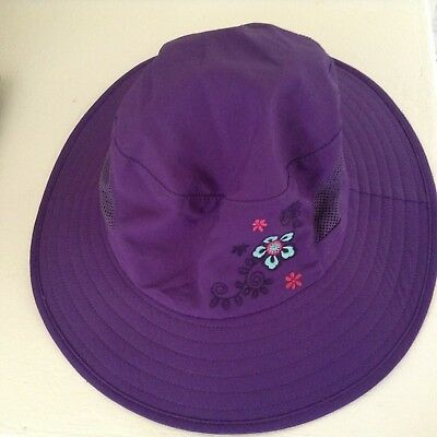 c797db05a65 REI Kids Sun Hat Chin Strap Purple Nylon blue pink floral embroidery Sz 4-7Y