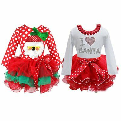 Toddler Baby Kids Girl Christmas Party Wedding Tutu Dress Outfit Clothes 2-7Y