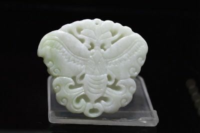 Beautiful Hand Carved China natural white Jade Pendant Butterfly  @200