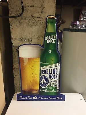 (VTG) Rolling Rock Beer bottle with glass tin sign bar Game Room man cave