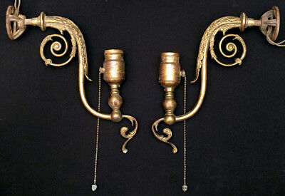 1910 Antique Pair ELECTRIC WALL SCONCES Victorian Edwardian Art Nouveau Brass
