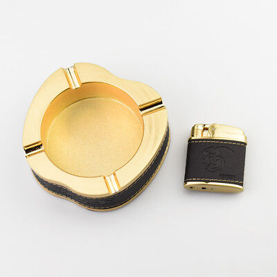 HONEST Golden Cigar Suit With Gigar Ashtray and Windproof Jet Lighter