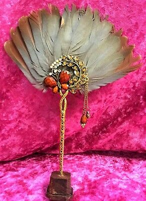 S12  Dainty Antique Victorian Style Tea Fan fanned Rooster feathers Rhinestones