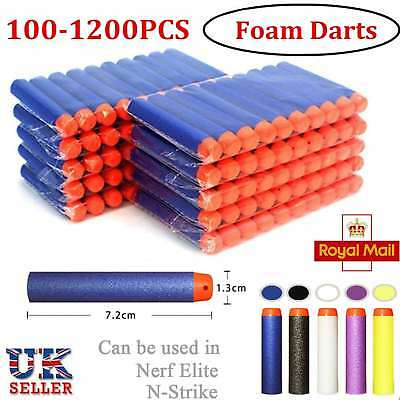 100/1200 For Nerf Gun Refill Bullets Darts Round Head Blasters N-Strike Toy