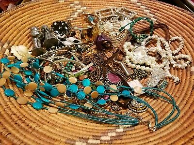 Misc lot of vintage & new jewelry, rings,necklaces, bead neclaces, pewter figure