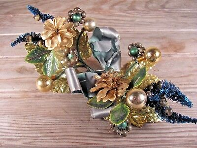 Christmas Corsage antique or vintage mercury glass beads bottle brush SPECIAL!