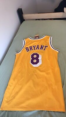 24533fa8b80c KOBE BRYANT 8 Los Angeles Lakers Yellow Vintage Throwback Basketball Jersey  NWT