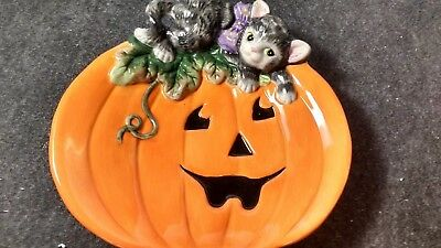 Fitz & Floyd Halloween Kitty Canapé Canape Plate 2063 139 New Pumpkin Cat and