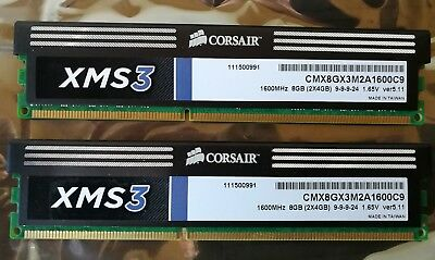Corsair 8GB DDR3 RAM XMS3 2x4 GB 1600Mhz