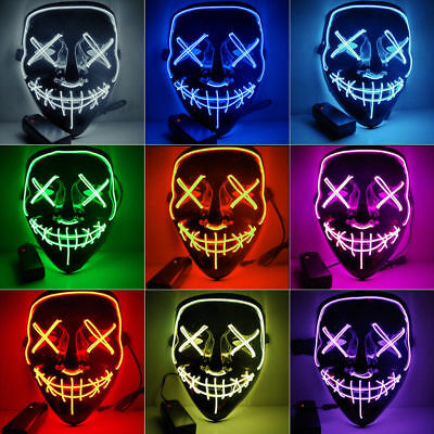 LED Glühend leuchtet EL Wire Horror Party Halloween Maske Kostüm Cosplay Horror